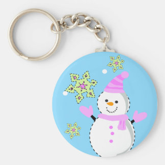 snowman with snowflakes screen basic round button keychain
