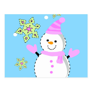 snowman with snowflakes screen postcard