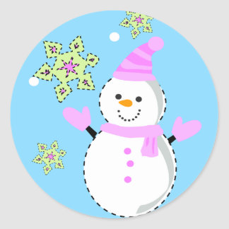 snowman with snowflakes screen classic round sticker