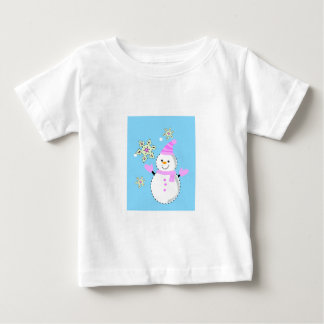 snowman with snowflakes screen tees