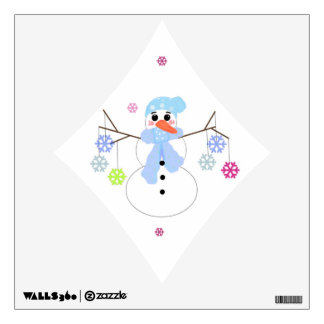 Snowman with Snowflakes Wall Decal