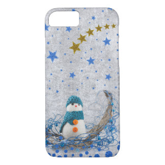 Snowman with sparkly blue stars on abstract silver iPhone 7 case