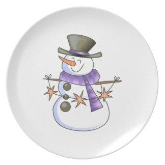 SNOWMAN WITH STAR GARLAND PLATE