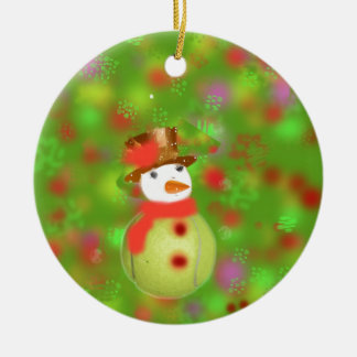 Snowman with tennis ball welcome holiday season ceramic ornament