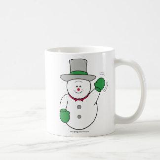 Snowman with Top Hat Waving Coffee Mug