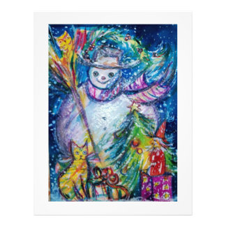 SNOWMAN WITH TOYS, white blue yellow Flyer