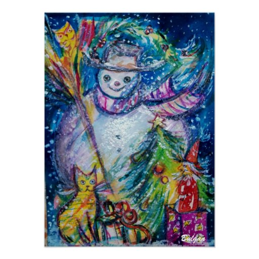 SNOWMAN WITH TOYS, white blue yellow Poster