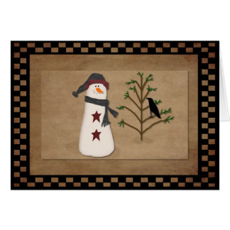 Snowman With Tree Christmas Card