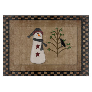 Snowman With Tree Glass Cutting Board