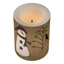 Snowman With Tree LED Flameless Candle