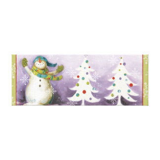 Snowman with Winter Mittens and Christmas Trees Canvas Print