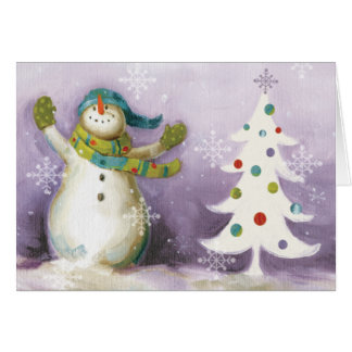 Snowman with Winter Mittens and Christmas Trees Card