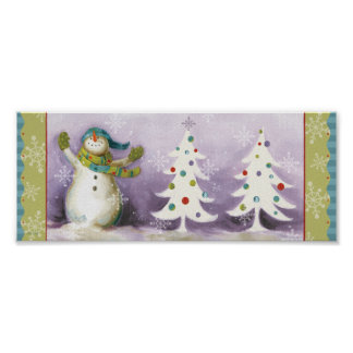 Snowman with Winter Mittens and Christmas Trees Poster