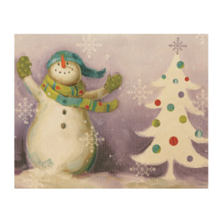 Snowman with Winter Mittens and Christmas Trees Wood Wall Art