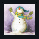"""Snowman with Winter Mittens Canvas Print<br><div class=""""desc"""">&#169; Lisa Audit / Wild Apple.  This holiday snowman is wearing winter mittens and a green scarf with polka dots. The image is bordered with snowflakes along the sides.</div>"""