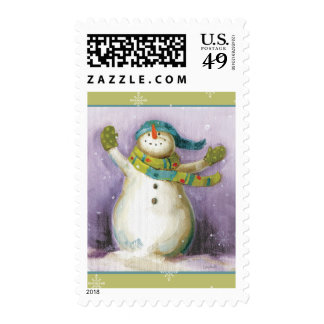 Snowman with Winter Mittens Postage
