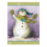 Snowman with Winter Mittens Postcard