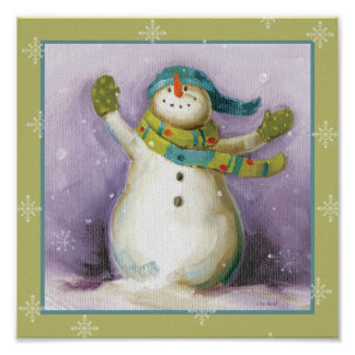 Snowman with Winter Mittens Poster