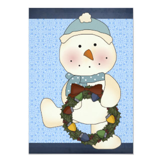 Snowman with Wreath Party Invitation (Blue)