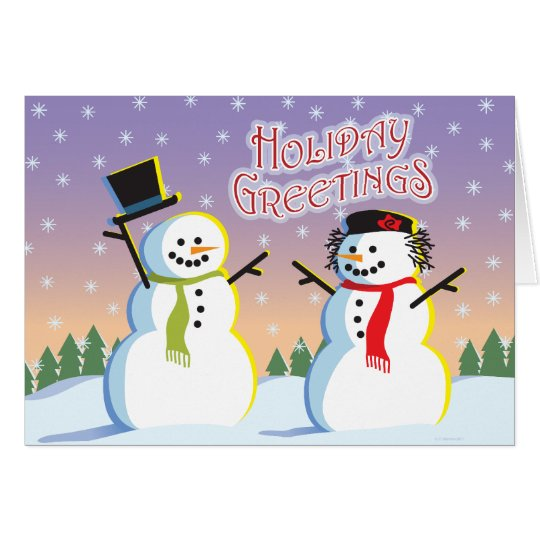 Snowman & Woman Holiday Card