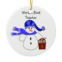 Snowman World's Best Teacher Ceramic Ornament