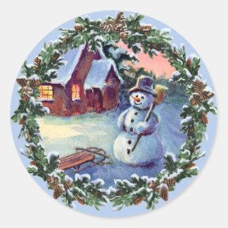 SNOWMAN WREATH by SHARON SHARPE Round Stickers