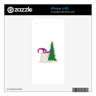 Snowman Xmas Tree Decals For iPhone 4S