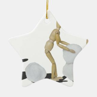 Snowmanbuilding Adorno Navideño De Cerámica En Forma De Estrella