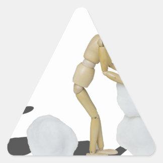 Snowmanbuilding Pegatina Triangular