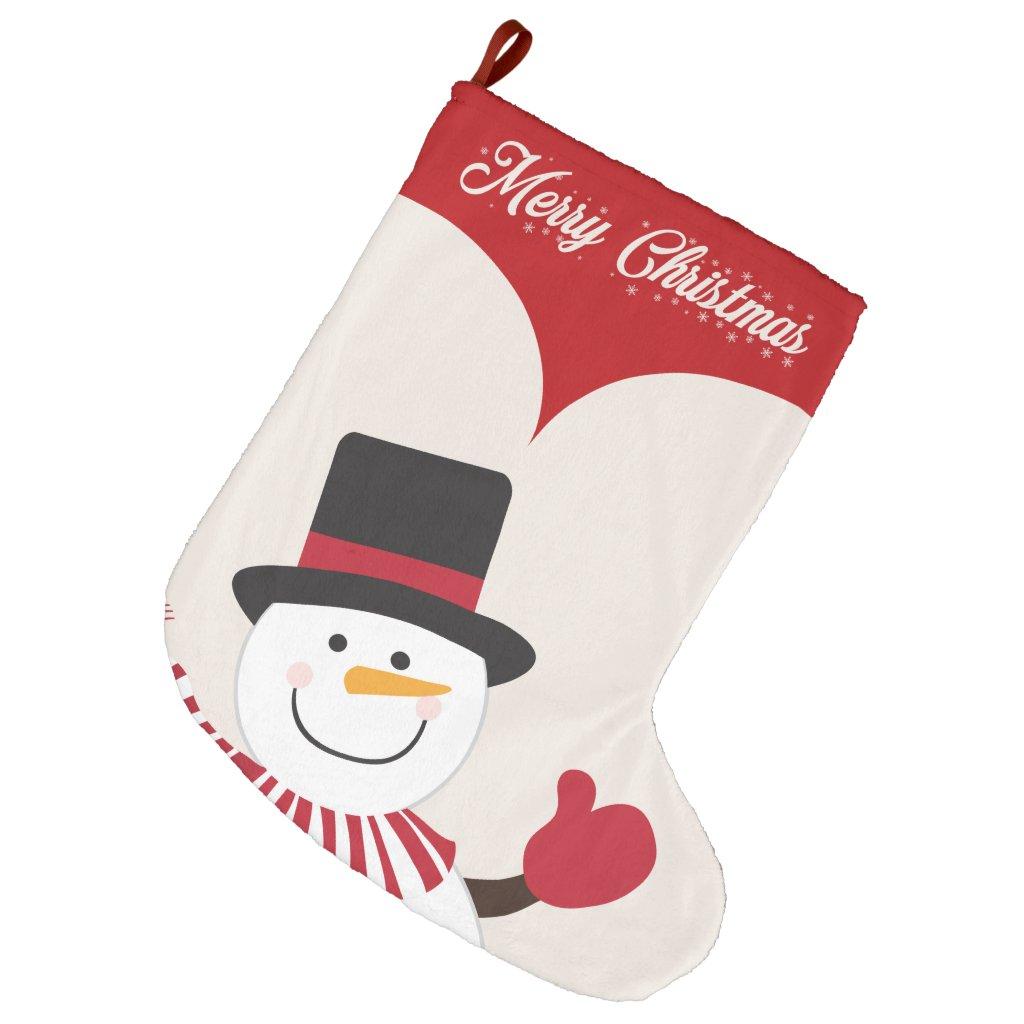 Snowmand Large Christmas Stocking