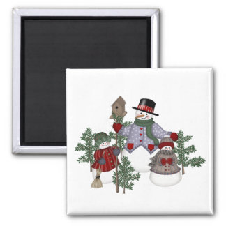 SnowmanFamily 2 Inch Square Magnet