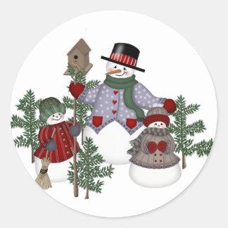 SnowmanFamily Classic Round Sticker