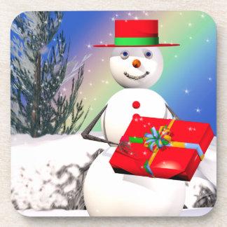 Snowmans Christmas Present Beverage Coaster