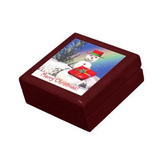 Snowmans Christmas Present Jewelry Box