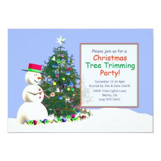 Snowman's Christmas Tree Trimming 5x7 Paper Invitation Card