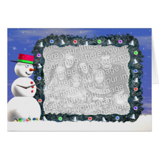 Snowman's Christmas (wide) (photo frame) Card