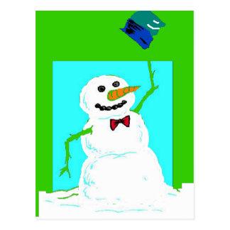 snowman's hat postcard