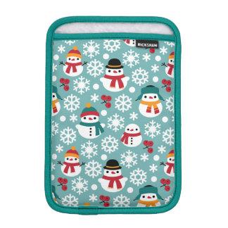Snowmans & Snowflakes Seamless Pattern Sleeve For iPad Mini