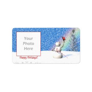 Snowmans Snowy Christmas Photo Frame Label