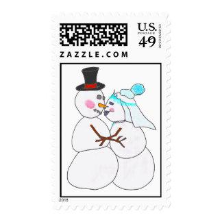 SnowManWedding Postage Stamp