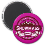 Snowmass Color Logo Raspberry 2 Inch Round Magnet