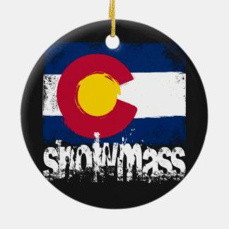 Snowmass Grunge Flag Ceramic Ornament