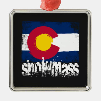 Snowmass Grunge Flag Metal Ornament
