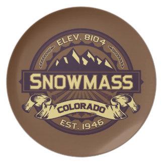 Snowmass Logo Sepia Melamine Plate