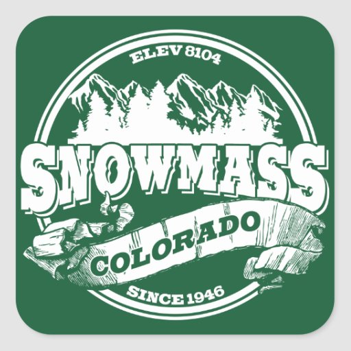 Snowmass Old Circle White Square Stickers