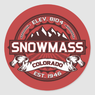 Snowmass Red Classic Round Sticker