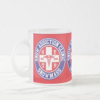 Snowmass Snow Addiction Clinic Frosted Glass Coffee Mug