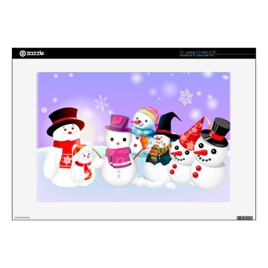 "Snowmen 15"" Laptop Skin"