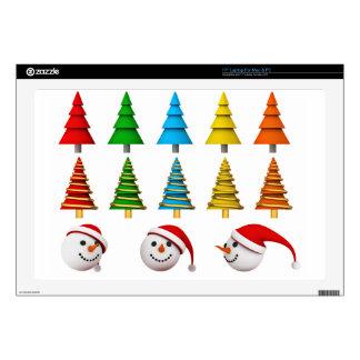 "Snowmen And Christmas Trees 17"" Laptop Skin"