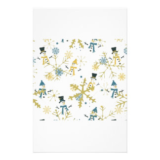 Snowmen and flakes stationery